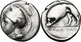Greek Italy. Northern Lucania, Velia. AR Nomos, circa 334-300 BC. Helmeted head of Athena left; monogram behind neck guard. / Lion standing left, devo...