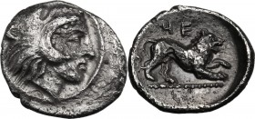 Greek Italy. Southern Lucania, Heraclea. AR Diobol, 432-420 BC. Head of Herakles right, wearing lion's skin. / Lion right. HN Italy 1358. AR. 1.17 g. ...