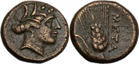 Greek Italy. Southern Lucania, Metapontum. AE 14 mm, 300-250 BC. Head of Demeter right, wearing wreath of barley. / Ear of barley. HN Italy 1695. AE. ...