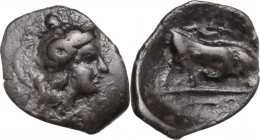Greek Italy. Southern Lucania, Thurium. AR Triobol, 350-300 BC. Head of Athena right, wearing helmet decorated with Scylla hurling rock. / Bull buttin...