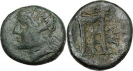 Greek Italy. Southern Lucania, Thurium. AE 16 mm, c. 280 BC. Head of Apollo left, laureate. / Tripod. HN Italy 1925. AE. 4.69 g. 16.00 mm. Green patin...