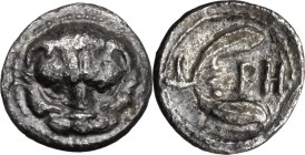 Greek Italy. Bruttium, Rhegion. AR Litra, 415-387 BC. Lion mask facing. / Olive sprig with two leaves. HN Italy 2499. AR. 0.61 g. 10.50 mm. Toned. VF.