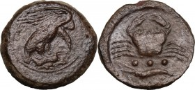 Sicily. Akragas. AE Tetras, end of 5th century-406 BC. Eagle on hare right. / Crab; below, three pellets and cray-fish. CNS I 50. AE. 8.69 g. 23.00 mm...