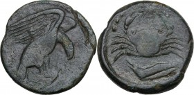 Sicily. Akragas. AE Hexas, circa 425-406 BC. Eagle standing right on hare, head lowered, wings spread. / Crab; below, crayfish left; six pellets aroun...