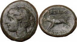 Sicily. Akragas. Phintias, (Tyrant, 287-279 BC). AE 22 mm. Head of Artemis left; on shoulder, quiver. / Boar left. CNS I 118. AE. 6.76 g. 22.00 mm. Ol...