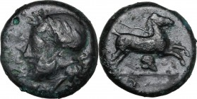 Sicily. Entella. AE Onkia, before 404 BC. Head of bearded male right, wearing helmet decorated with wreath. / Horse galloping right; below, helmet. CN...