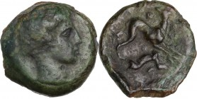 Sicily. Eryx. AE Onkia, circa 412-409 BC. Bare head right. / Hound right, head left; pellet (mark of value) above, inverted hare below. CNS I 13A; HGC...