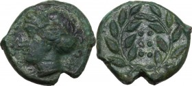 Sicily. Himera. AE Hemilitron, c. 415-409 BC. Head of nymph left; six pellets before. / Six pellets within wreath. CNS I 35; HGC 2 479. AE. 3.56 g. 17...
