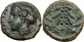 Sicily. Himera. AE Hemilitron, c. 415-409 BC. Head of nymph left; six pellets before. / Six pellets within wreath. CNS I 35; HGC 2 479. AE. 3.70 g. 15...