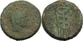 Sicily. Lilybaeum. Roman Rule. L. Sempronius Atratinus. AE 26 mm, 37-36 BC. Head right, turreted, veiled. / Serpent coiled around tripod. CNS I 15; RP...