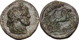 Sicily. Menaion. Roman Rule. AE Pentonkion, 200-150 BC. Bust of Serapis right, draped, laureate. / Nike in biga right. CNS III 2. AE. 3.15 g. 18.00 mm...