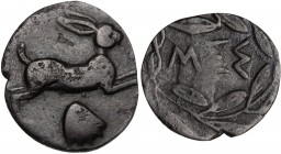 Sicily. Messana. AR Litra, 460-451 BC. Hare leaping right; below, cockle-shell. / Ethnic within laurel wreath. SNG Cop. 413. AR. 0.50 g. 11.00 mm. Ton...