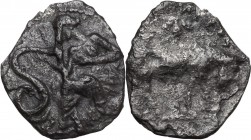 Sicily. Selinos. AR Litra, circa 410 BC. Nymph seated left on rock, touching serpent to left. / Man-headed bull standing right. SNG ANS 711-12; HGC 2 ...