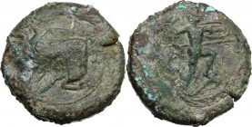 Sicily. Sileraioi. AE Litra, 357-336 BC. Forepart of man-headed bull left. / Warrior striding right, holding spear and shield. CNS III 1. AE. 29.88 g....