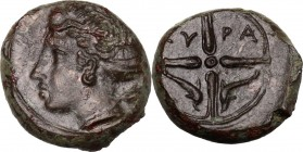 Sicily. Syracuse. Second Democracy (466-405 BC). AE 15 mm, c. 415 BC. Head of Arethusa left, wearing wreath. / Wheel with four spokes, in the bottom t...