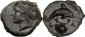 Sicily. Syracuse. Second Democracy (466-405 BC). AE 17 mm. Head of nymph left; behind, branch. / Dolphin right; below, cockle-shell. CNS II 24. AE. 3....