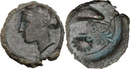 Sicily. Syracuse. Second Democracy (466-405 BC). AE Hemilitron, adter 410 BC. Head of nymph left. / Dolphin right; below, cockle-shell. c/m palmette. ...