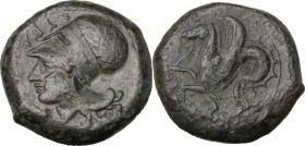 Sicily. Syracuse. Dionysios I (405-367 BC). AE Litra, 409-395 BC. Head of Athena left, wearing Corinthian helmet decorate with olive branch. / Hippoca...