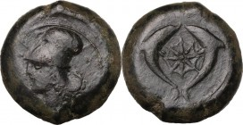 Sicily. Syracuse. Dionysios I (405-367 BC). AE Drachm, from 395 BC. Head of Athena left, wearing Corinthian helmet. / Two dolphins facing each other; ...
