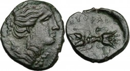 Sicily. Syracuse. Agathokles (317-289 BC). AE 16 mm. Bust of Artemis right; on shouldet, quiver. / Thunderbolt. CNS II 141. AE. 2.22 g. 16.00 mm. Love...