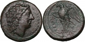 Sicily. Syracuse. Hiketas (287-278 BC). AE 14 mm. Head of Zeus Hellanios right, laureate. / Eagle standing left, on thunderbolt, wings about to open. ...