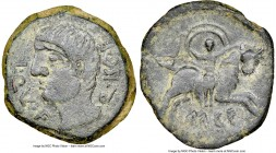 SPAIN. Castulo. Ca. early 1st century BC. AE as (29mm, 2h). NGC Choice VF. L•QVL•F-Q•ISC•F (VL ligate), bare headed male head left / Europa seated on ...