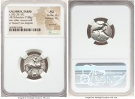 CALABRIA. Tarentum. Ca. 302-281 BC. AR nomos or didrachm (20mm, 7.88 gm, 7h). NGC AU 4/5 - 2/5, brushed. Sa- and Con-, magistrates. Nude horseman crow...