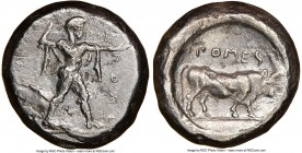 LUCANIA. Poseidonia. Ca. 470-420 BC. AR stater (18mm, 12h). NGC VF, brushed. ΠΟΣE, Poseidon striding right, nude but for chlamys spread across shoulde...