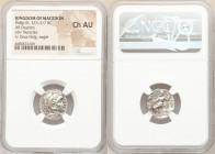 MACEDONIAN KINGDOM. Philip III Arrhidaeus (323-317 BC). AR drachm (18mm, 12h). NGC Choice AU. Colophon, ca. 323-319 BC. Head of Heracles right, wearin...