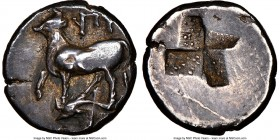 THRACE. Byzantium. Ca. 350-300 BC. AR half-siglos (13mm). NGC Choice VF. Bull standing left on dolphin left; ΠY above / Quadripartite incuse square of...