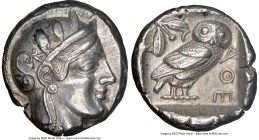 ATTICA. Athens. Ca. 455-440 BC. AR tetradrachm (25mm, 17.12 gm, 2h). NGC Choice XF 5/5 - 4/5. Early transitional issue. Head of Athena right, wearing ...