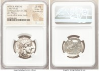 ATTICA. Athens. Ca. 440-404 BC. AR tetradrachm (25mm, 17.20 gm, 11h). NGC Choice AU 5/5 - 4/5. Mid-mass coinage issue. Head of Athena right, wearing c...