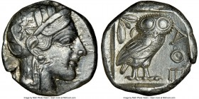 ATTICA. Athens. Ca. 440-404 BC. AR tetradrachm (24mm, 17.17 gm, 1h). NGC Choice AU 5/5 - 4/5. Mid-mass coinage issue. Head of Athena right, wearing cr...