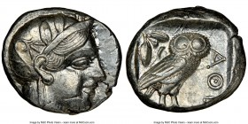 ATTICA. Athens. Ca. 440-404 BC. AR tetradrachm (24mm, 17.20 gm, 7h). NGC Choice AU 4/5 - 4/5. Mid-mass coinage issue. Head of Athena right, wearing cr...