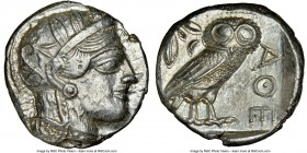 ATTICA. Athens. Ca. 440-404 BC. AR tetradrachm (23mm, 17.21 gm, 4h). NGC Choice AU 4/5 - 4/5. Mid-mass coinage issue. Head of Athena right, wearing cr...