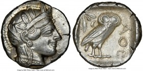 ATTICA. Athens. Ca. 440-404 BC. AR tetradrachm (25mm, 17.19 gm, 7h). NGC AU 5/5 - 4/5. Mid-mass coinage issue. Head of Athena right, wearing crested A...