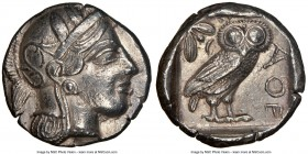 ATTICA. Athens. Ca. 440-404 BC. AR tetradrachm (25mm, 17.14 gm, 8h). NGC AU 5/5 - 3/5. Mid-mass coinage issue. Head of Athena right, wearing crested A...