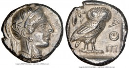 ATTICA. Athens. Ca. 440-404 BC. AR tetradrachm (23mm, 17.17 gm, 4h). NGC Choice XF 5/5 - 4/5. Mid-mass coinage issue. Head of Athena right, wearing cr...