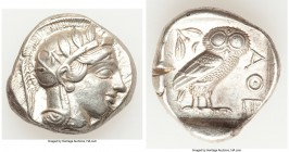 ATTICA. Athens. Ca. 440-404 BC. AR tetradrachm (26mm, 17.15 gm, 10h). XF. Mid-mass coinage issue. Head of Athena right, wearing crested Attic helmet o...