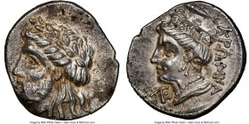 PAPHLAGONIA. Cromna. 4th century BC. AR drachm (17mm, 11h). NGC Choice XF. Laureate head of Zeus left, hair partially rolled at the back of head, some...