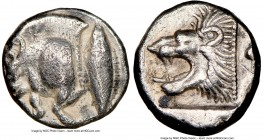 MYSIA. Cyzicus. Ca. 5th century BC. AR hemiobol (9mm, 8h). NGC VF. Forepart of boar left with pelleted truncation; tunny fish upward behind / Head of ...