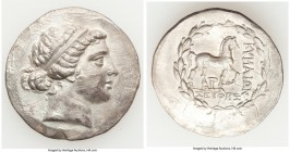 AEOLIS. Cyme. Ca. 165/55-145/0 BC. AR tetradrachm (32mm, 16.04 gm, 12h). XF, scuffs, edge cut. Seuthes, magistrate. Head of the Amazon Cyme right, wea...