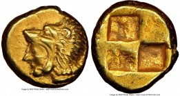 IONIA. Erythrae. Ca. 550-500 BC. EL sixth-stater or hecte (11mm, 2.53 gm) NGC XF 4/5 - 4/5. Head of Heracles left, wearing lion skin headdress / Irreg...