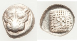 IONIA. Miletus. Late 6th-early 5th centuries BC. AR eighth-stater (10mm, 1.58 gm). Fine. Head of lion or panther facing / Floral or stellate design wi...