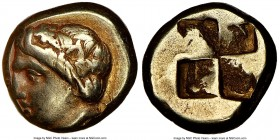 IONIA. Phocaea. Ca. 387-326 BC. EL sixth-stater or hecte (10mm). NGC VF. Laureate female head left, hair in saccos; seal right below / Irregular quadr...