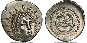 CARIAN ISLANDS. Rhodes. Ca. 84-30 BC. AR drachm (21mm, 4.19 gm, 12h). NGC MS 4/5 - 3/5, brushed. Radiate head of Helios facing, turned slightly right,...