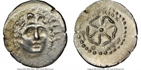 CARIAN ISLANDS. Rhodes. Ca. 84-30 BC. AR drachm (19mm, 12h). NGC Choice AU, brushed. Charmeios, magistrate. Radiate head of Helios facing, turned slig...