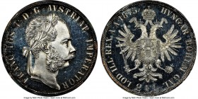 Franz Joseph I 2 Florin 1875 MS64 Deep Prooflike NGC, KM2233. A stellar example fielding bright mirrors that hold significant reflectivity, a subtle e...