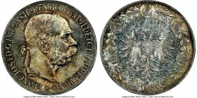 Franz Joseph I 5 Corona 1907 MS64 NGC, KM2807. A rarely locatable type in any sort of meaningful state of preservation, the surfaces having taken on a...