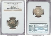 Leopold II silver Proof Restrike Franc 1886 PR64 NGC, Bogaert-1242B1. Reeded edge. Flemish legends. A quite attractive piece featuring an engaging mir...